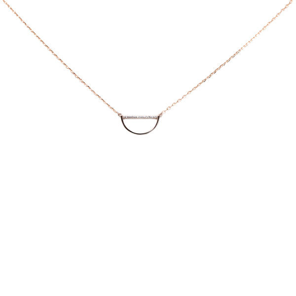 Reverse Arc Sterling Silver Simple Chain Necklace