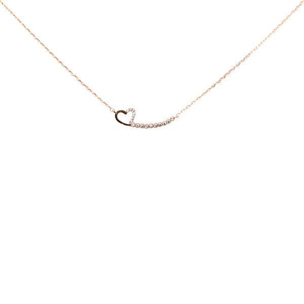 Heart Arc Sterling Silver Simple Chain Necklace