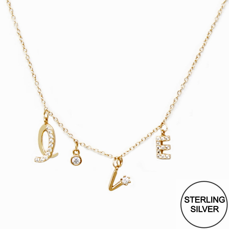 CZ Pave LOVE Letter Charm Sterling Silver Chain Necklace