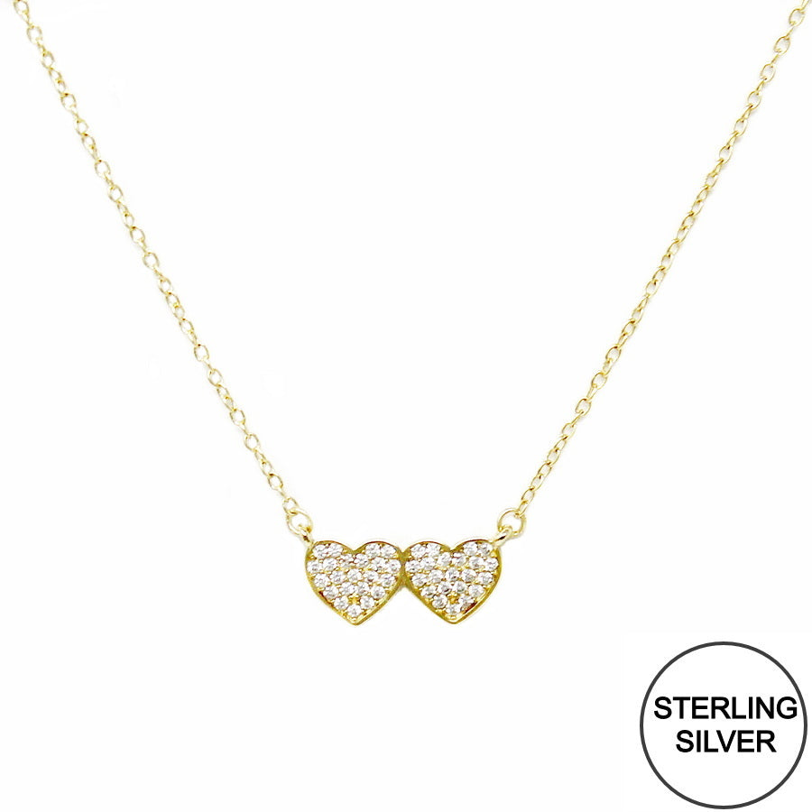 CZ Pave Double Heart Pendant Sterling Silver Necklace