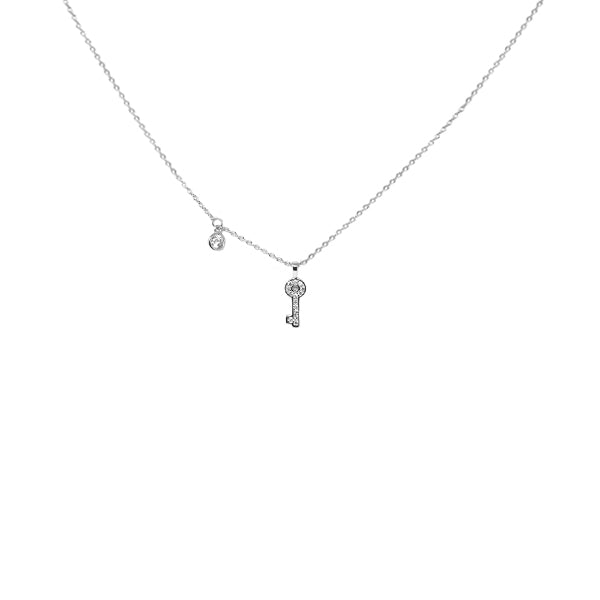 Mini Key Sterling Silver Simple Chain Necklace