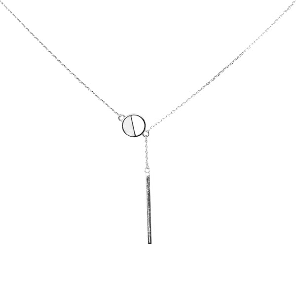 Half Disc And Bar Drop Sterling Silver Simple Chain Necklace