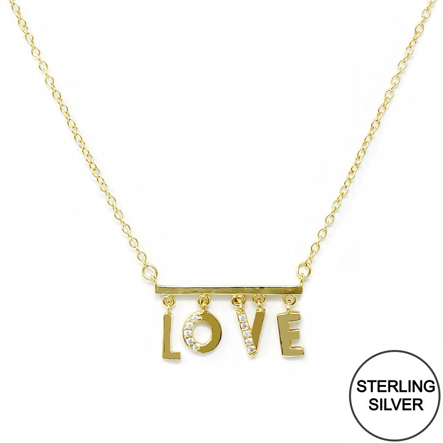 CZ Pave LOVE Letter Bar Pendant Sterling Silver Chain Necklace