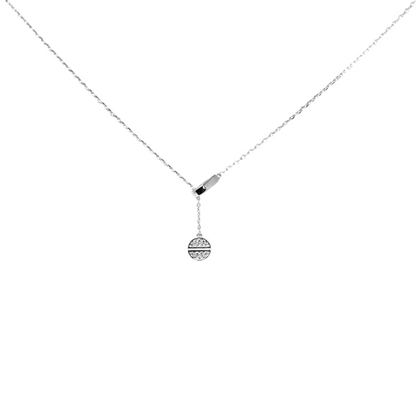 Mini Disc Pull Through Sterling Silver Simple Chain Necklace