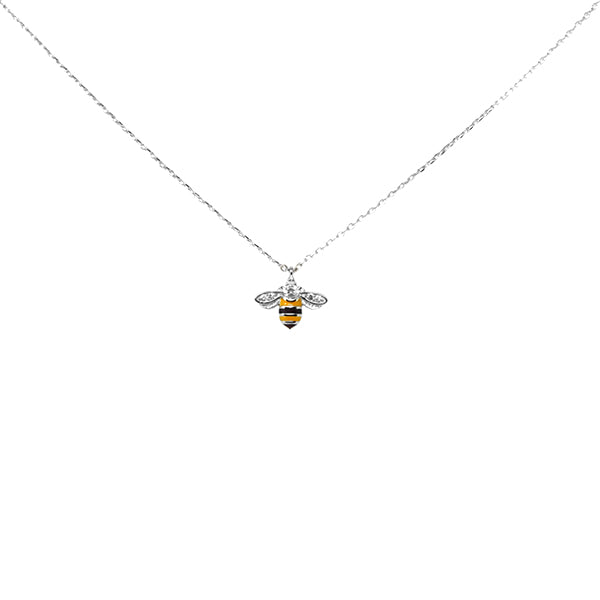 Honey Bee Sterling Silver Simple Chain Necklace