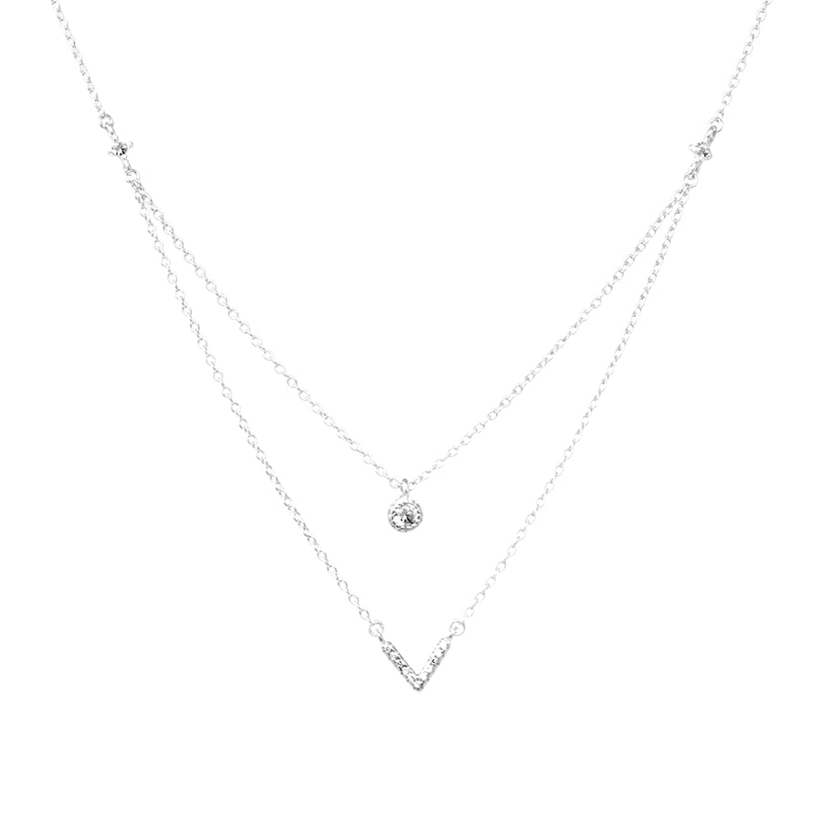 Sterling Silver Cubic Zirconia Double Layered Short Necklace