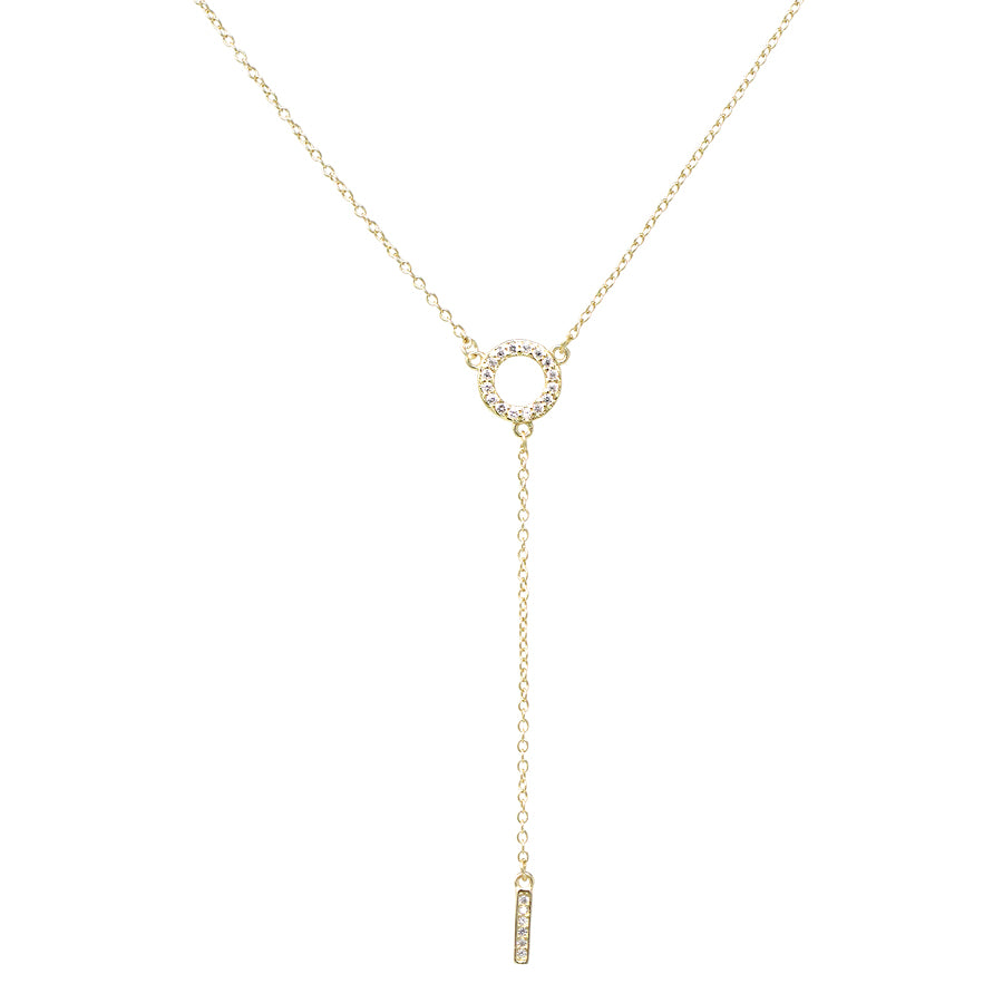 Sterling Silver Cubic Zirconia Circle With Bar Drop Y-Necklace