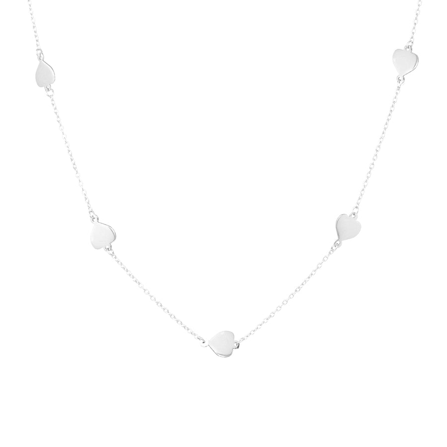 Sterling Silver Spade Station Short Necklace