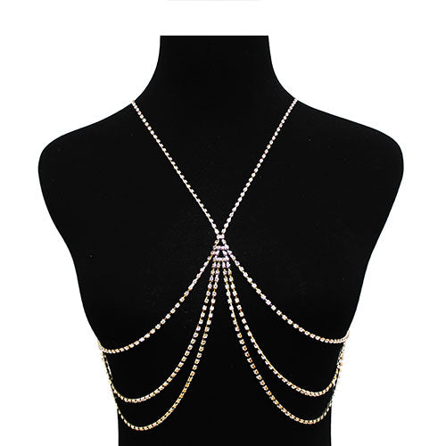 Crystal Fringe X Shape Body Chain