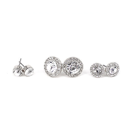 3 Pairs Round Crystal Earrings