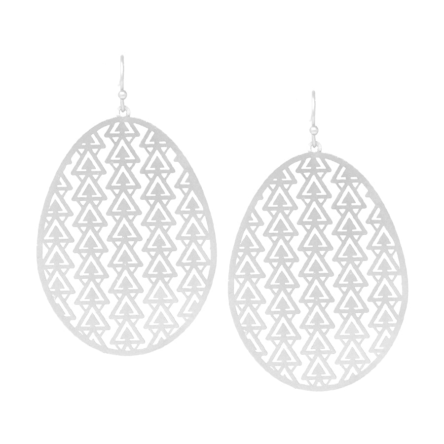 Geometric Laser Cut Oval Drop Earrings