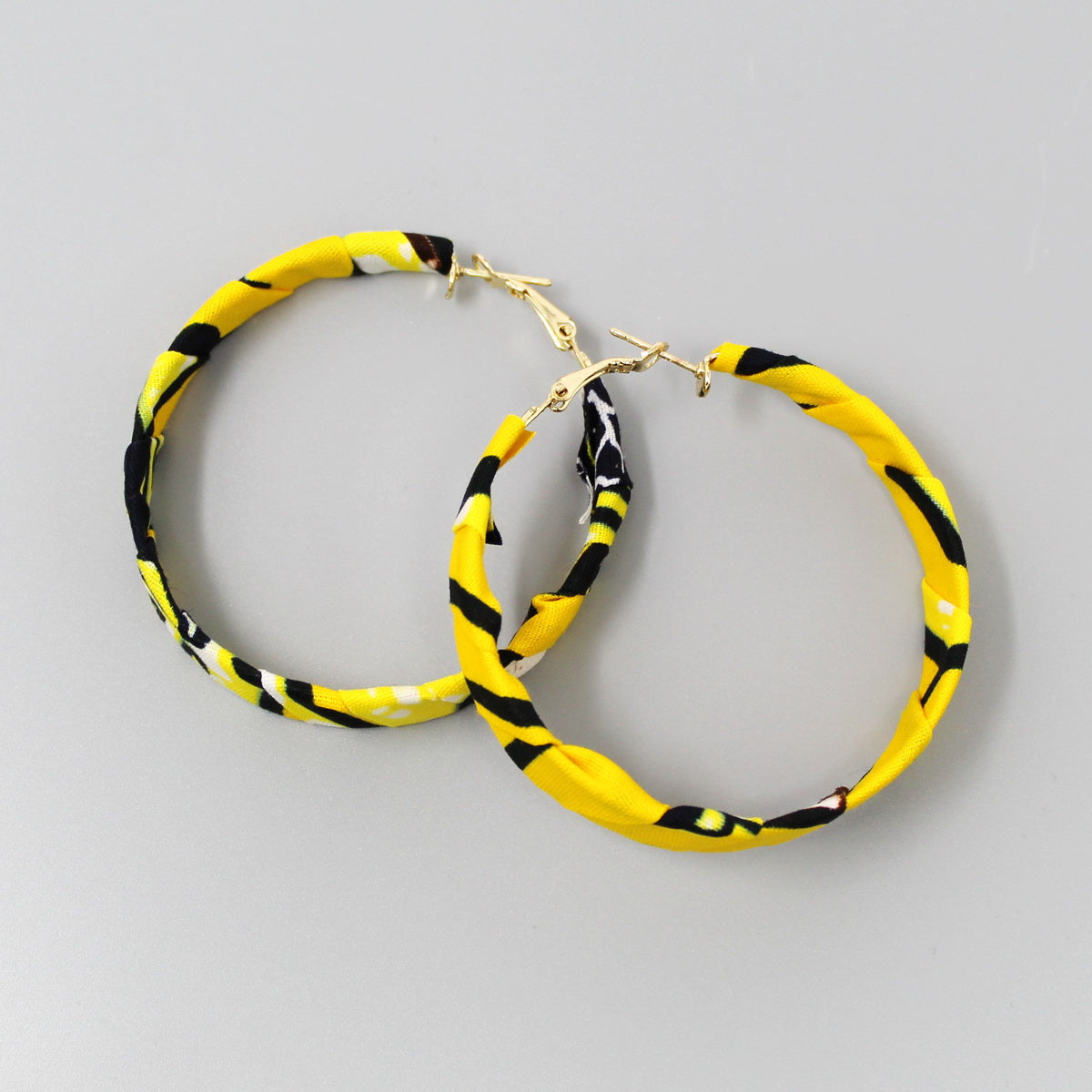 Ankara African Fabric Wrapped Hoop Earrings