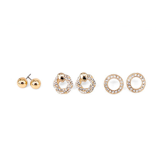 3 Pairs Knot Circle Crystal Earrings