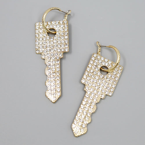 Glass Stone Pave Square Key Hoop Drop Earrings