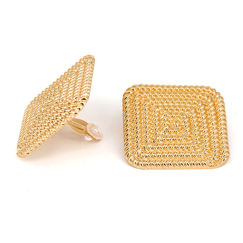 Textured Square Shape Clip On Earrings