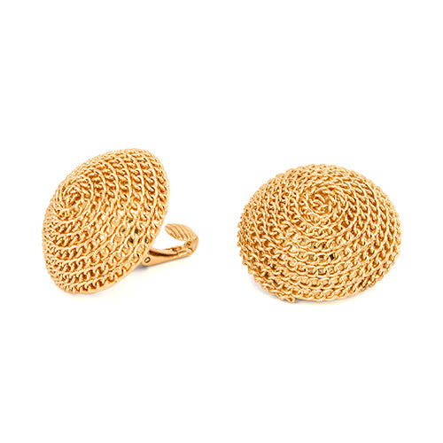Chain Wrapped Dome Shape Clip On Stud Earrings