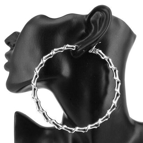 Twisted Metal Hoop Earrings (90 mm)