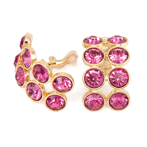 Chunky Double Row Rhinestone Curved Clip On Earrings