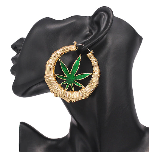 Colored Leaf With Texture Hoop Earrings (60 mm)