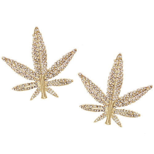 Glass Stone Pave Sativa Leaf Earrings