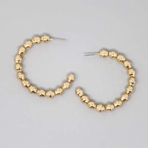 Textured Metal Ball Beaded Hoop Earrings (40 mm)