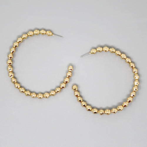 Textured Metal Ball Beaded Hoop Earrings (60 mm)