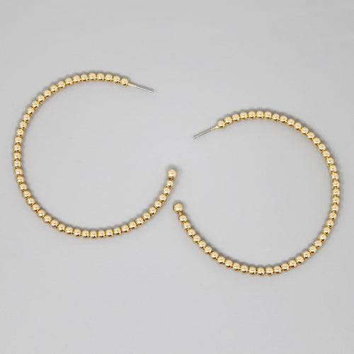Metal Ball Beaded Hoop Earrings (60 mm)