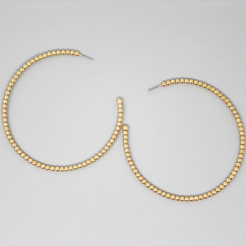Metal Ball Beaded Hoop Earrings (80 mm)