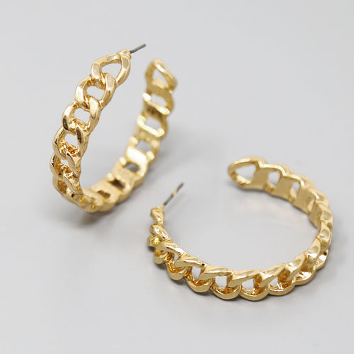 Flattened Chain Hoop Earrings (40 mm)