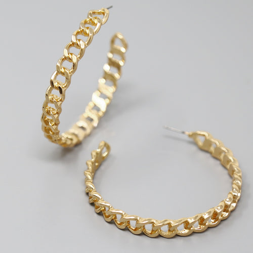 Flattened Chain Hoop Earrings (60 mm)