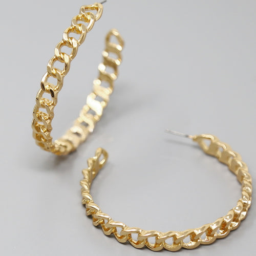 Flattened Chain Hoop Earrings (70 mm)
