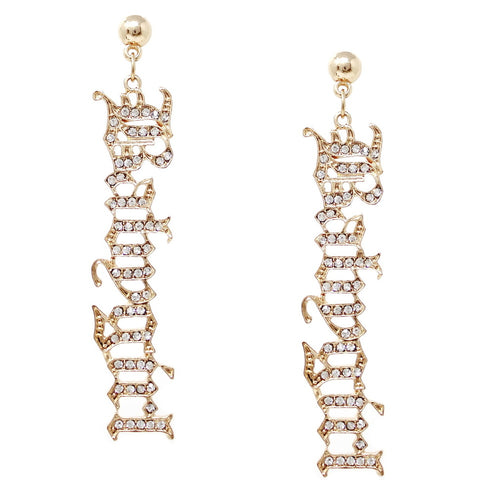 Glass Stone Pave BABY GIRL Script Drop Earrings