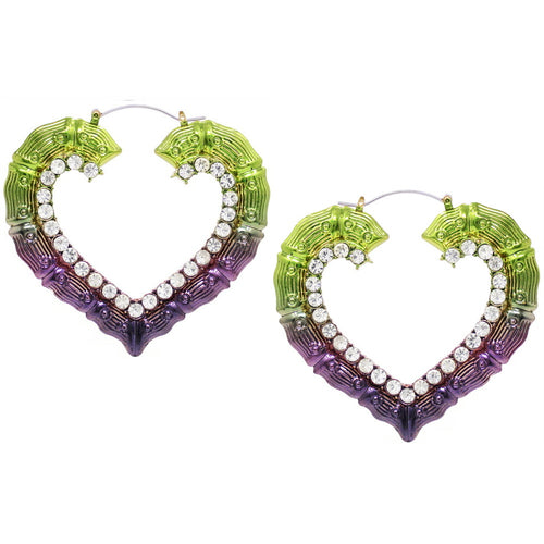 Color Coated Glass Stone Pave Heart Shape Bamboo Hoop Earrings