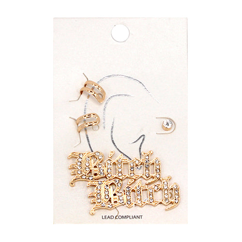 Bitch Rhinestone Pave Stud And Ear Cuff Earrings Set