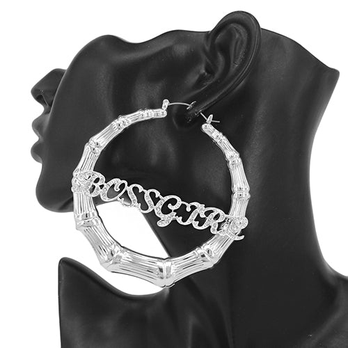 BOSSGIRL Rhinestone Pave Hoop Earrings