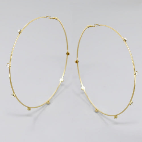 Spaced Glass Stone Hoop Earrings (100 mm)