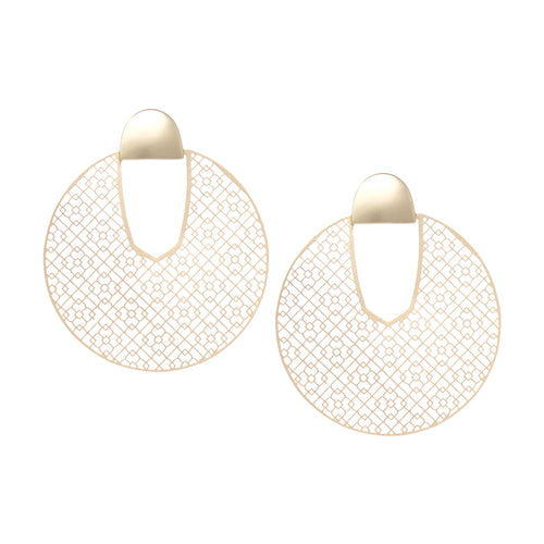 Filigree Laser Cut Disc Drop Earrings
