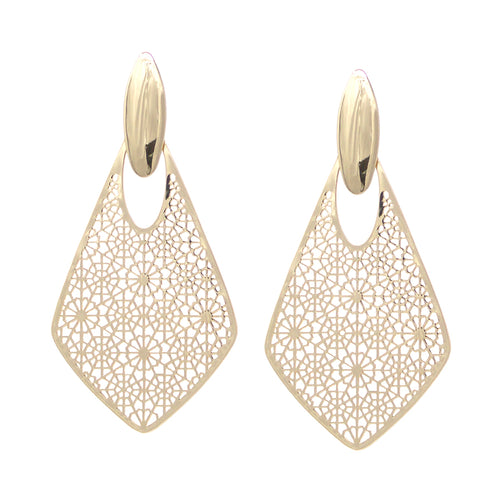 Filigree Laser Cut Rhombus Shape Drop Earrings