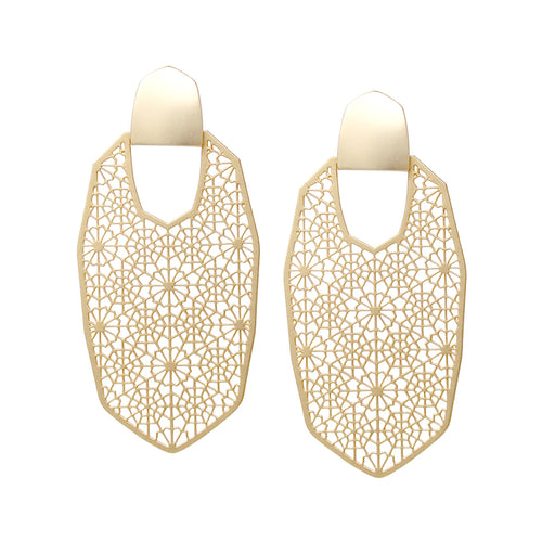 Filigree Laser Cut Geometric Shape Drop Earrings