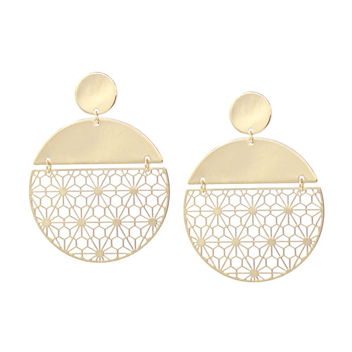 Floral Lace Laser Cut Disc Drop Earrings