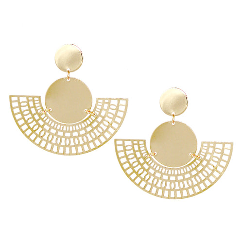 Disc With Fan Shaped Laser Cut Drop Earrings