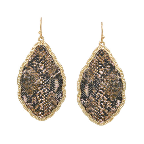 Texture Print Moroccan Shape Wood Drop Earrings