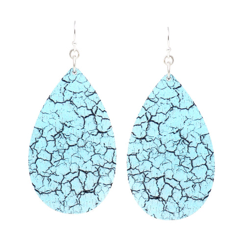 Texture Print Teardrop Shape Wood Drop Earrings