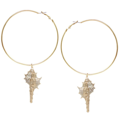 Gold Dipped Shell Charm Oversize Hoop Earrings