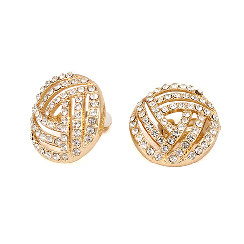 Rhinestone Pave Round Stud Clip On Earrings