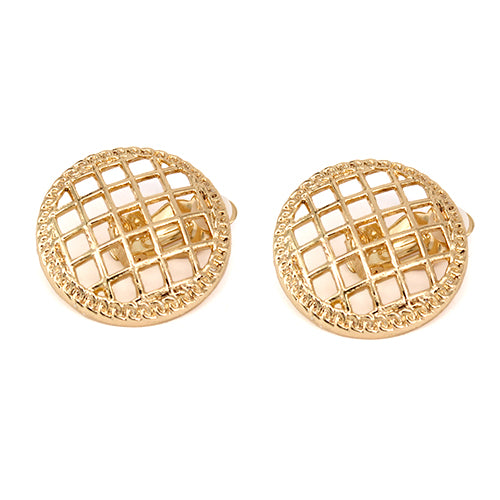 Cutout Round Shape Stud Clip On Earrings