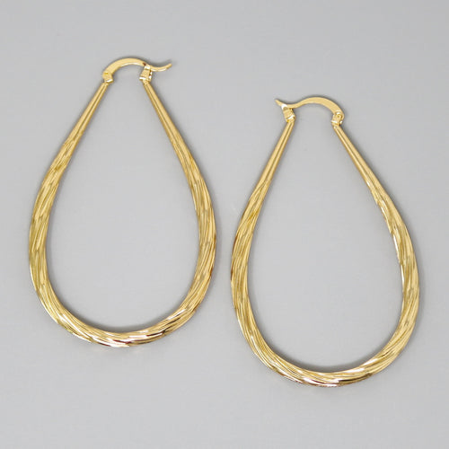 Ribbed Metal Teardrop Shape Hoop Earrings