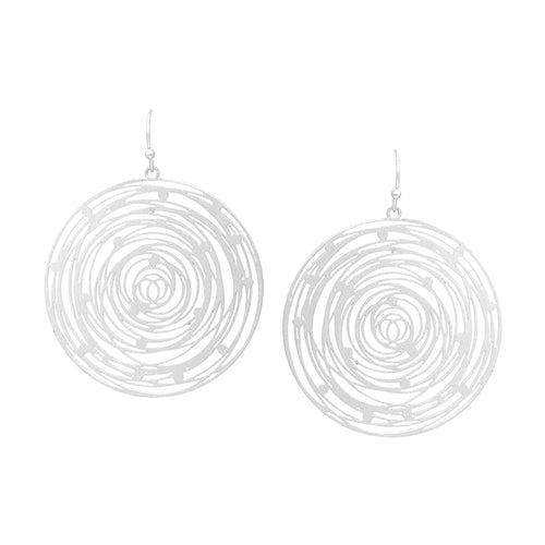 Tree Rings Laser Cut Disc Drop Earrings