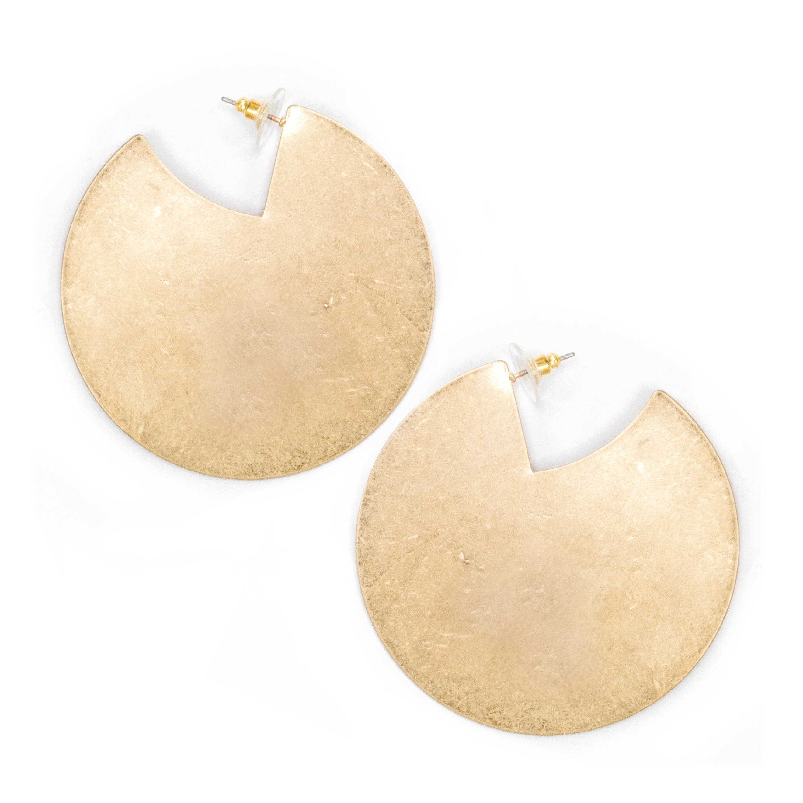 Brushed Brass Solid Disc Shaped Hoop Earrings