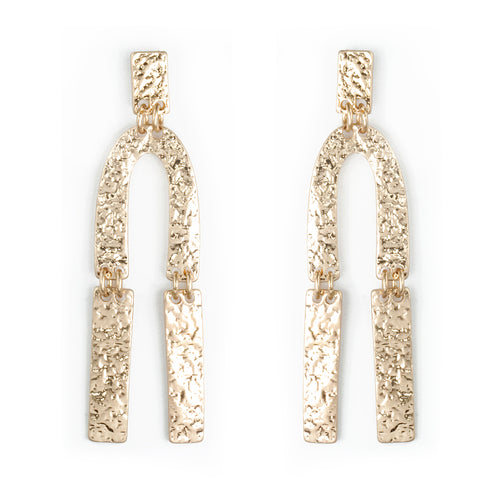 Geometric Hammered Arch Drop Earrings